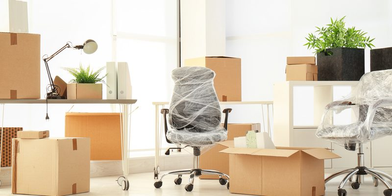 packaged office chairs and boxes